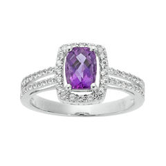 Cushion-Cut Genuine Amethyst and White Sapphire Sterling Silver Split-Band Ring