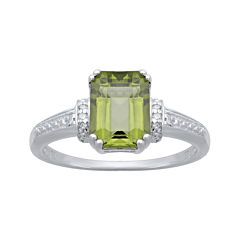 Genuine Peridot and Diamond-Accent 10K White Gold Ring