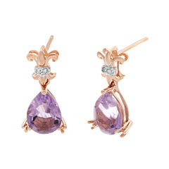 Genuine Amethyst and Diamond-Accent 10K Rose Gold Filigree Drop Earrings