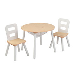 KidKraft® Storage Table and 2 Chairs Set - White and Natural
