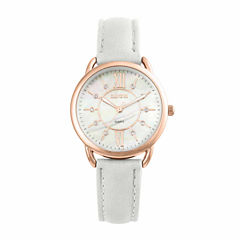 Womens Geneva Rosegold Mother of Pearl Dial White Strap Watch