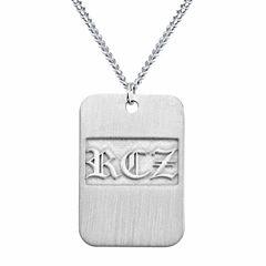 Personalized Brushed Monogram Dog Tag Necklace