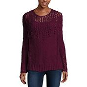Arizona Long Sleeve Round Neck Pullover Sweater-Juniors