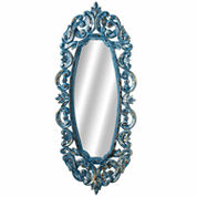 Blue Ornate Carved Oval Mirror With Gold