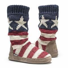 MUK LUKS® Vanessa Womens Sweater Knit Boot Slippers