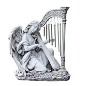 KNEELING ANGEL WIND CHIME OUTDOOR STATUE