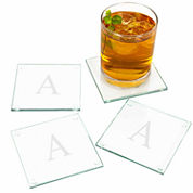 Cathy's Concepts Personalized Etched Set of 4 Monogram Glass Coasters