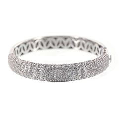 DiamonArt® Cubic Zirconia Sterling Silver Wide Bangle