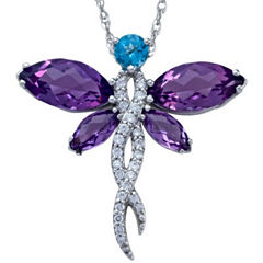 Lab-Created Amethyst Dragonfly Sterling Silver Pendant Necklace