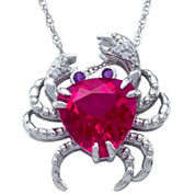 Lab-Created Ruby Crab Pendant Sterling Silver Necklace