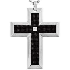 Mens Diamond-Accent Cross Pendant Necklace Stainless Steel