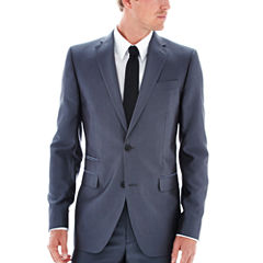 JF J.Ferrar Gray Luster Herringbone Classic Fit Suit Jacket