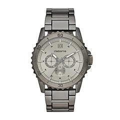 Claiborne® Mens Gunmetal Strap Watch