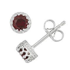 Round Red Garnet Sterling Silver Stud Earrings