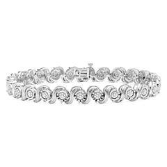 Womens 1/10 CT. T.W. White Diamond Sterling Silver Tennis Bracelet