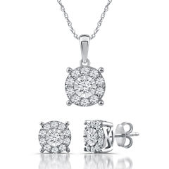 Diamond Blossom Womens 2-pc. White Diamond Sterling Silver Jewelry Set