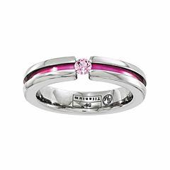 Edward Mirell Mens Pink Sapphire Titanium Wedding Band