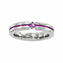 Edward Mirell Mens Genuine Purple Amethyst Titanium Wedding Band