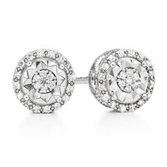 LIMITED TIME SPECIAL 1/10 CT. T.W. Round White Diamond Sterling Silver Stud Earrings