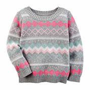 Carter's Crew Neck Long Sleeve Cotton Pullover Sweater - Preschool
