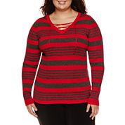 Ohmg Long Sleeve V Neck Pullover Sweater-Juniors Plus