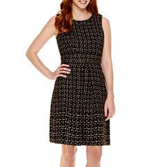 Liz Claiborne® Sleeveless Metallic Tweed Fit-and-Flare Dress - Tall