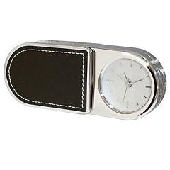 Natico Portable Folding Alarm Clock with Leather Trim