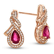 1/3 CT. T.W. Red Ruby 14K Gold Drop Earrings