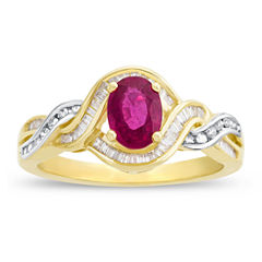 Glass Filled Ruby & 1/3 C.T. T.W. Diamond 14K Yellow Gold Ring