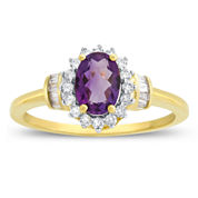 Womens 1/4 CT. T.W. Purple Amethyst 10K Gold Cocktail Ring