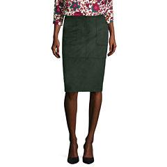 Liz Claiborne® Patch-Pocket Faux-Suede Pencil Skirt