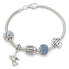 Womens White Crystal Charm Bracelet