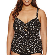 Trimshaper Polka Dot Tankini Swimsuit Top-Plus