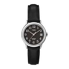 Timex® Easy Reader Womens Black Leather Strap Watch T2N5259J