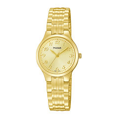 Pulsar® Traditional Womens Gold-Tone Stainless Steel Expansion Bracelet Watch PG2034