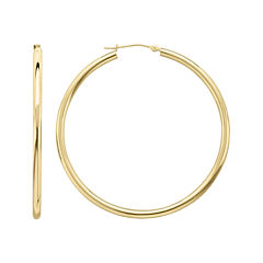Infinite Gold™ 14K Yellow Gold 50mm Hollow Hoop Earrings