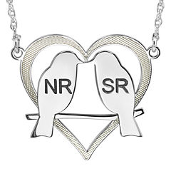 Personalized 25mm Love Birds Heart Couples Necklace