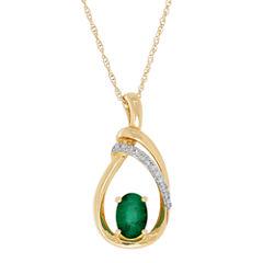 Womens Diamond Accent Green Emerald 10K Gold Pendant Necklace
