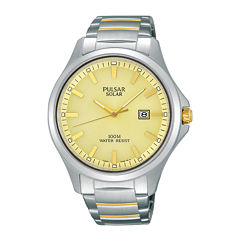 Pulsar® Business Mens Two-Tone Stainless Steel Solar Watch PX3075