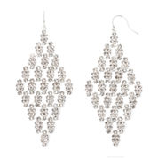 Vieste® Crystal Silver-Tone Kite Earrings