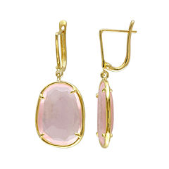 Faceted Genuine Pink Quartz Earrings