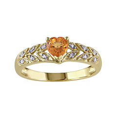 Heart-Shaped Genuine Orange Sapphire and Diamond-Accent Ring