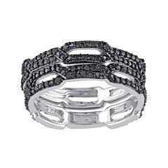 1/7 CT. T.W. Color-Enhanced Black Diamond Black Sterling Silver Ring Set