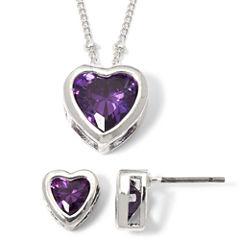 Purple Heart Cubic Zirconia Pendant Necklace & Earring Set