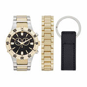 Fashion Watches Mens Gold-Tone Watch Boxed Set
