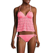 Arizona Art Deco Coral Molded Cup Tankini Swim Top or Side-Tie Hipster Swim Bottoms - Juniors