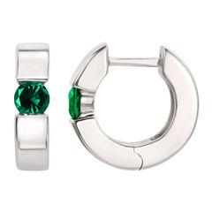 Lab Created Emerald Sterling Silver Hoop Earrings