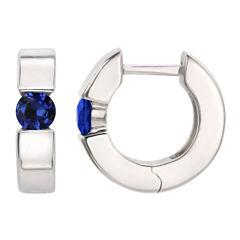 Blue Sapphire Sterling Silver Hoop Earrings