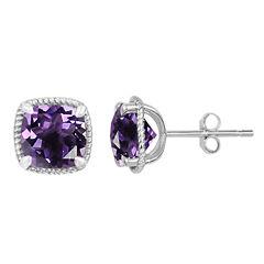 Cushion Purple Amethyst Sterling Silver Stud Earrings