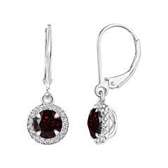 Red Garnet Sterling Silver Drop Earrings